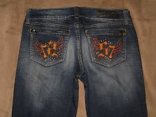 Seven 7 Size 29 Straight Leg Destroyed Dark Blue Stretch Denim Womens Jeans