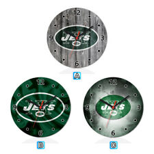 New York Jets Football Wood Wall Clock Home Office Room Decor Gift Round
