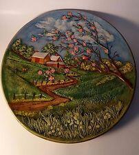 Beautiful 3D Chalkware Byron Mold 1972 Wall Plate Farm w/ Boy Dog & Birds !!!
