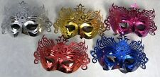 Set of 5 Masquerade Masks Plastic Coated Card and Cardboard with Glitter