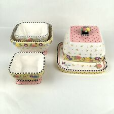 New ListingMary Engelbreit 2001 Meadow Hostess Set Nested Square Bowls & Covered Cheese