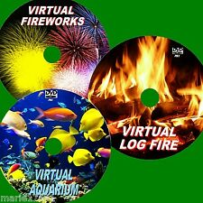 RELAXING VIRTUAL FISH TANK LOG FIRE, FIREWORKS 3 DVD VIEW ON FLAT SCREEN TVs NEW