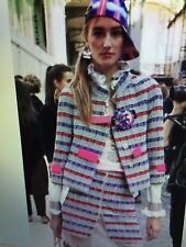 CHANEL 17P NEW TAGS TWEED PINK LILAC FANTASY JACKET Gripoix CC logo buttons FR42