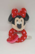 21 - DOUDOU HOCHET ROND MINNIE ROUGE POIS ROSE NOEUD ANNEAU DENTITION NEUF