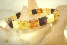 8mm Genuine Baltic Sea Square Faceted Pyramid Mixed Amber Stretch Bracelet #1