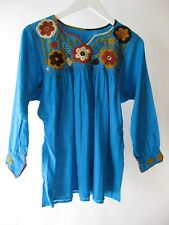 Mexican Embroidered Flowers Long Sleeve Chiapas Top Blue/Multicolor Sz S