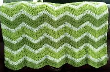 CROCHET blanket afghan couch throw chevron ripple handmade baby green white new