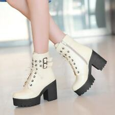 Womens Platform Block Heels Buckle Strap Lace Up Ankle Boots Riding Casual Shoes