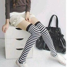 1Pair Black White Striped Thigh High Stockings Long Socks Over The Knee Socks