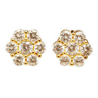 2.00ct Round Cut Diamond Cluster Stud Earrings 10k Solid Yellow Gold For Women's