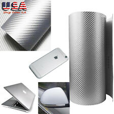 Silver 3D Carbon Fiber Texture Sticker Car Phone PC Vinyl Decal Sheet Wrap 12x60