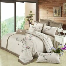 Egyptian Cotton Embroidered Bedding Sets Silk Queen King Duvet Cover Bed Sheet