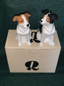 Vintage Hand Painted Jack Russell Dog Salt & Pepper Pots - Highly Detailed BNIB