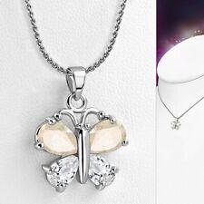 Collier en alliage de cristal avec pendentif papillon en forme de larme de crist