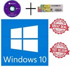 Microsoft Windows 10 Pro Professional 64 bit DVD + COA 1 License