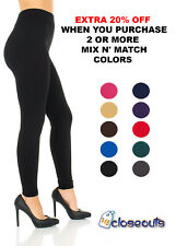 Women's Fleece Lined Leggings Solid Colors Winter Thick Warm Thermal Stretchy