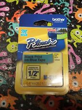 """Brother M531 P-Touch Label Tape 1/2"""" Black on Blue 12mm x 8m 1/2"""" Ptouch M-531"""