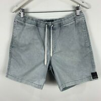 Quiksilver Mens Shorts Medium Grey Denim Elastic Waist Drawstring Pockets