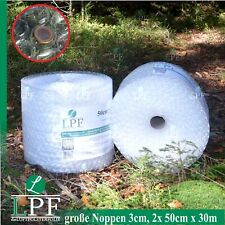 2x Luftpolsterfolie Große Noppe 50cm x 30m Noppenfolie Verpackungsmaterial Rolle