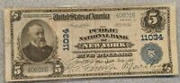 1902 $5 National Currency Public Bank of New York Large Note FR-606 Blue Seal