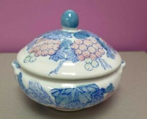 COVERED SOUP BOWL SERVING DISH MADE IN CHINA SIGNED GRAPE DESIGN
