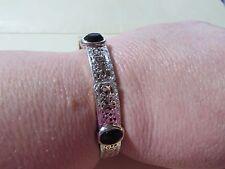 VINTAGE silvertone stretchy bracelet - with dark red stones
