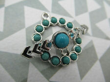 Turquoise & Silver Toggle Clasp - Arrow Bar with Rhinestones - 24mm - Qty 1 Clas