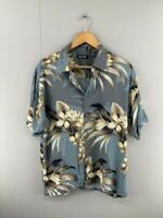 Puritan Mens Grey Vintage Hawaiian Short Sleeve Button Up Shirt Size Medium