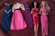 Vintage Barbie lot Superstar era dolls (2) and 6 outfits Angel Face