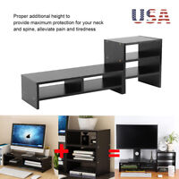 Desktop Monitor Riser TV Stand Desk Laptop Organizer +3 Tier Storage Shelves US