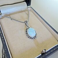 Sterling Silver Vintage Style Gilson Opal and Marcasite Pendant Necklace