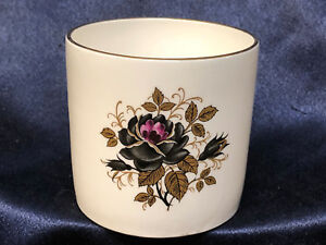 """ROSINA ENGLAND 2"""" X 2.5"""" OPEN SUGAR BOWL BLACK ROSES WITH GOLD LEAVES 6 OZ CAPAC"""