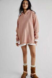 Free People Sweatshirt Pullover Everyday Hoodie Doe Pink Distressed Holey XS NWT