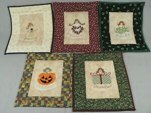 Quilted Needlepoint Calendar Blocks Angel Seasonal Design 5 pc set Handcrafted