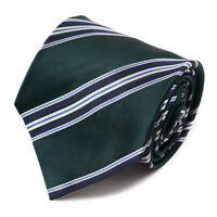 New $230 ISAIA NAPOLI 7-Fold Green and Navy Blue Ribbon Stripe Silk Tie