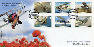 BIOT Military Stamps 2017 FDC WWI WW1 Aircraft British Service Aviation 6v Set