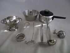 LOT OF 8 MINIATURE OR SMALL COOKWARE PIECES & UTENSILS STAINLESS & ALUMINUM