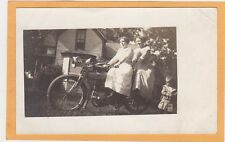 Real Photo Postcard RPPC - Two Women on Yale Motorcycle