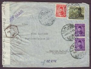 d6781/ Egypt Cairo Censor Airmail Cover t/Germany 1948