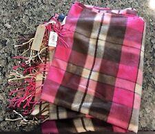 Gap Womens Cozy Classic Scarf Brown Pink White Tartan Plaid Fleece Fringe