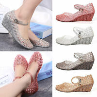 New Women Crystal Shoes Summer Casual Wedge Heels Hollow Strap Bling Jelly Shoes