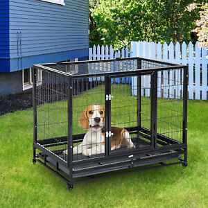 PawHut Metal Kennel Cage with Wheels and Crate Tray for Pet Dog Large Black