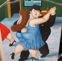 N.SIEBEL WOMAN AND MAN DANCING ORIGINAL OIL ON CANVAS PAINTING