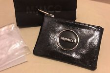 Authentic Mimco Shimmer Black Leather Small Pouch Wallet Purse button