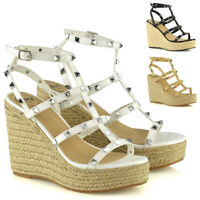 Womens Wedge Heel Shoes Ladies Studded Espadrilles Platform Strappy Sandals 3-8
