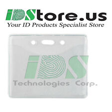 "10 Clear Vinyl Horizontal Badge Holder with Slot and Chain Holes, 2.3"" x 3.38"""
