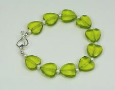 Green glass 14mm heart bead bracelet, silver stardust spacers, heart toggle