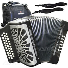 NEW 2019 Hohner Compadre FBE 31 Button Diatonic Accordion Black + Bag and Straps