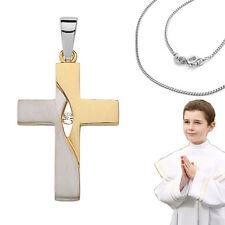 Kinder Kommunion Konfirmation Firmung Kreuz Echt Silber 925 vergoldet mit Kette