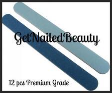 12 Blue PREMIUM Pro Salon Washable Cushioned Nail Files 120/240 Lt blue/dk blue